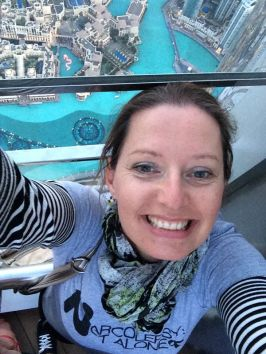 Hi from Claire in the tallest building in the world (Burj el Khalifa) – Dubai