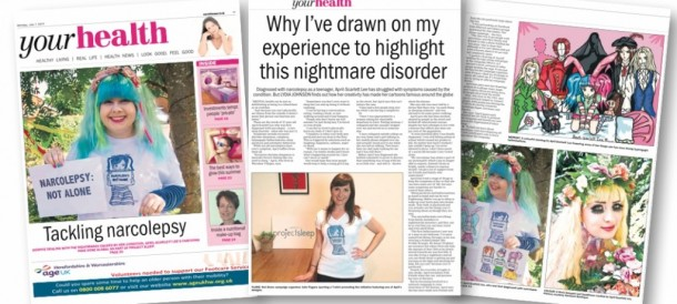 NARCOLEPSY: NOT ALONE in UK Newspaper featuring April Scarlett Lee's story & artwork